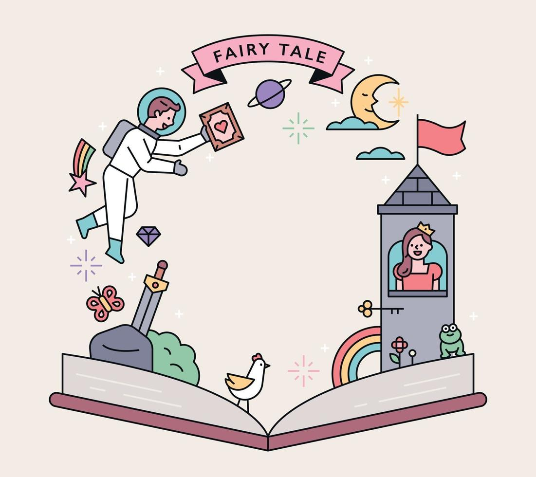 https www vecteezy com vector art 2049094 fairy tale poster a story from a fairy tale unfolds over the open book