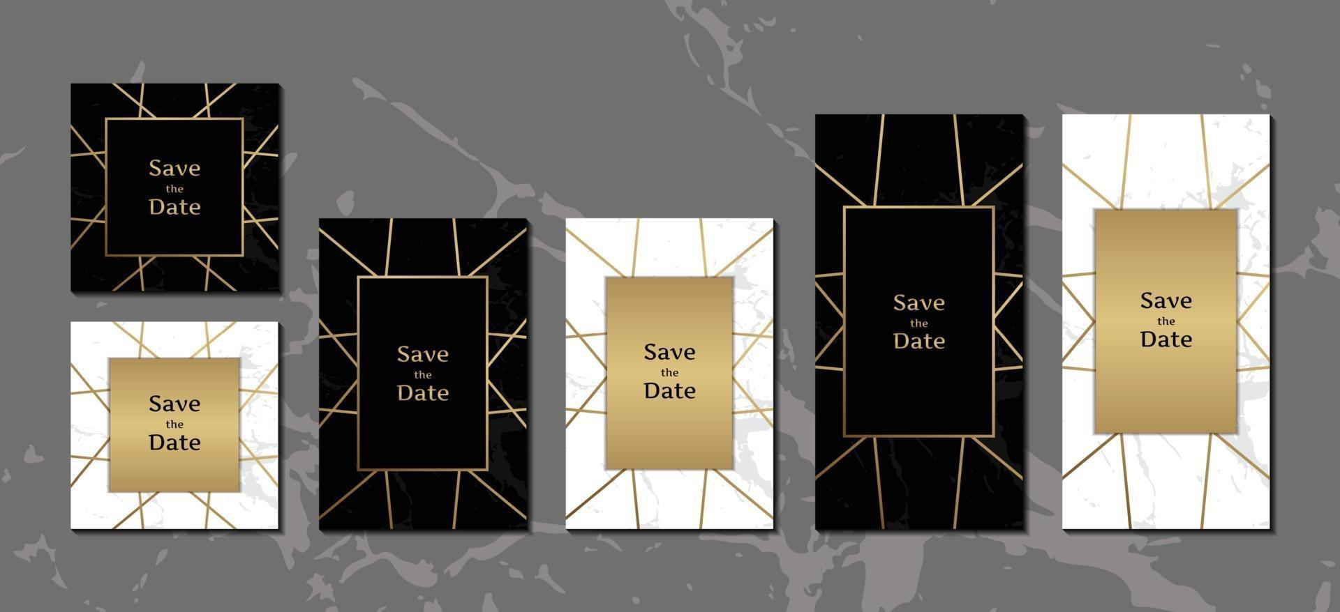 https www vecteezy com vector art 2067484 elegant wedding invitation cards black and white marble background collection with golden geometric frame vector illustration