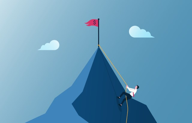 Businessman climbing mountain illustration. Business motivation and effort  in career concept 2090578 Vector Art at Vecteezy