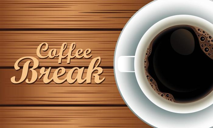 coffee break lettering with cup in wooden background 2528886 Vector Art at  Vecteezy