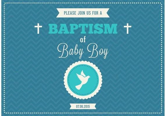 baby boy baptism vector invitation