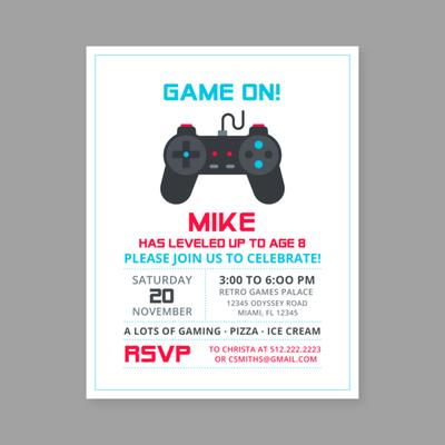 retro game birthday invitation template