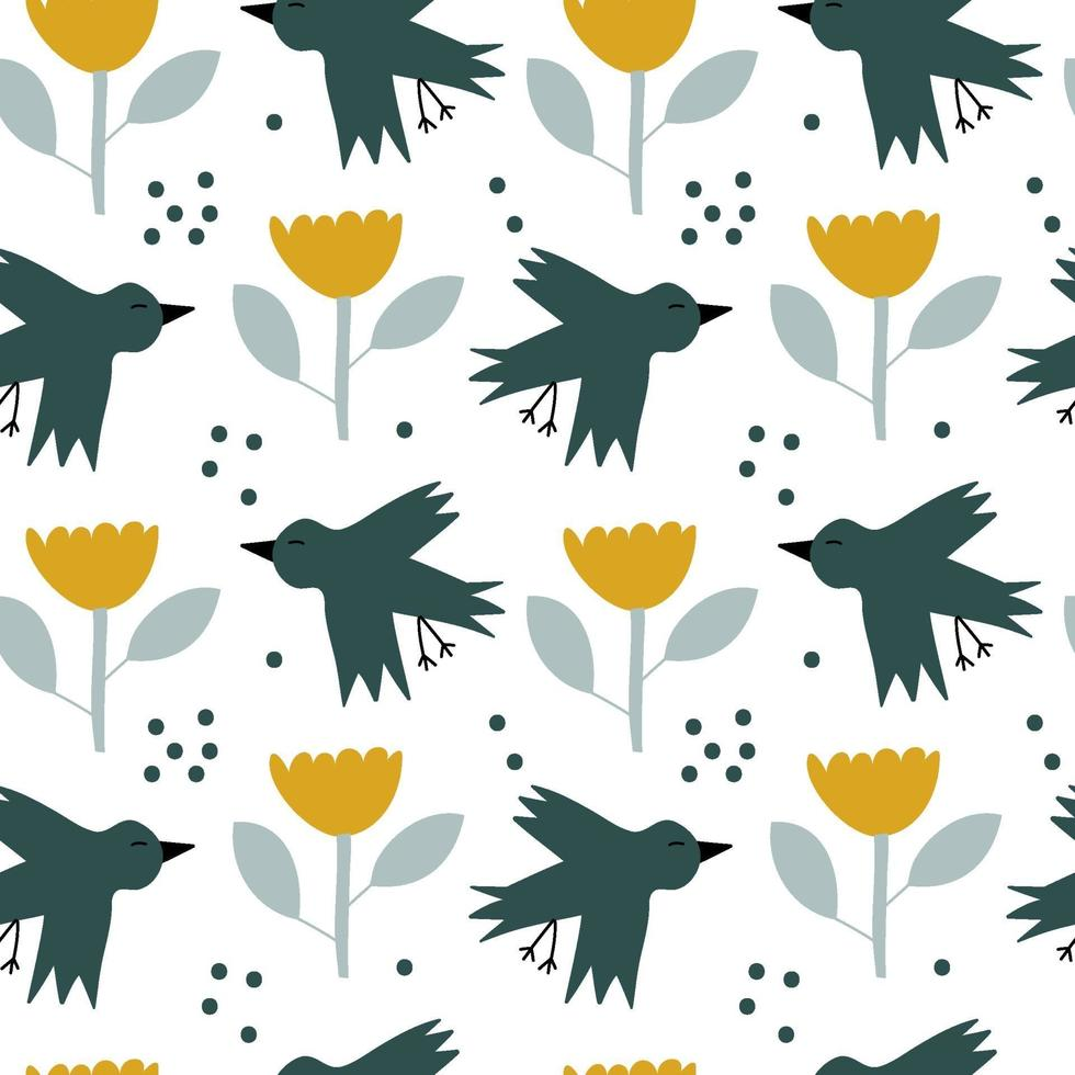 https fr vecteezy com art vectoriel 2069882 vector kids seamless background spring pattern with scandinavian bird and flower for baby shower summer textile design simple texture for nordic wallpaper fill web page contexte