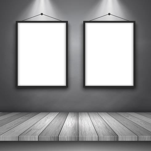https fr vecteezy com art vectoriel 333014 fond d 39 ecran avec table en bois et cadres vierges