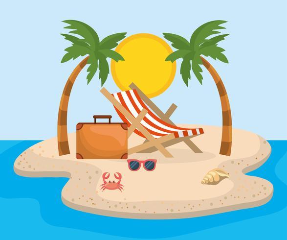 https fr vecteezy com art vectoriel 671744 chaise de plage avec valise de palmiers sur le sable