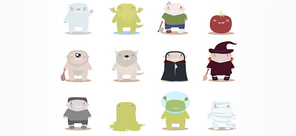 12 Free Vector Monster Mascots