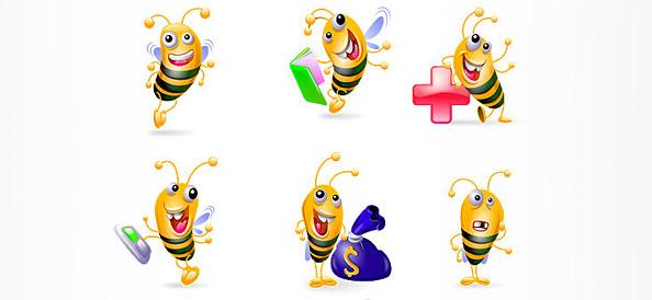 6 Bee Vector Characters
