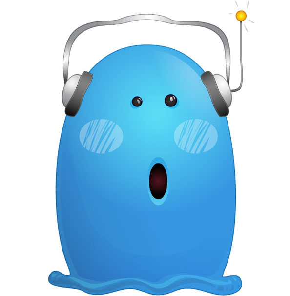 Blue Monster Character with Headphones Preview Big