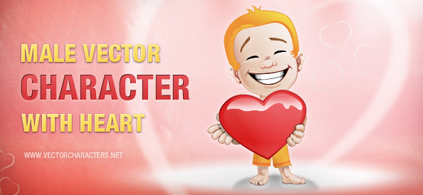 Male Vector Character with a Heart