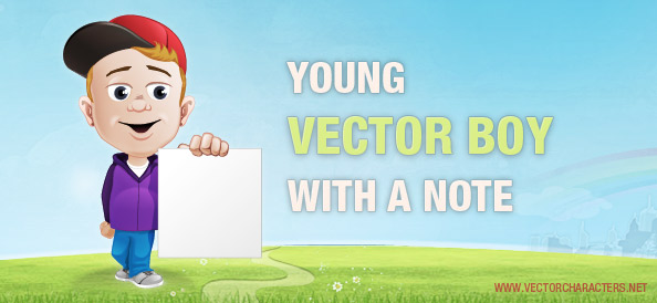 Young Vector Boy Holding a Note