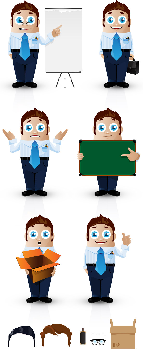 Vector Businessman Characters in 6 Postures