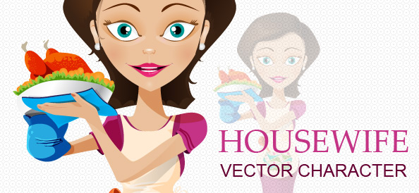 Housewife with  an Apron Vector Character