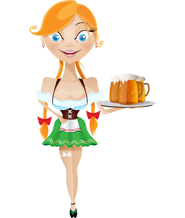 Waitress Vector Character Preview Full