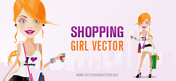 Attractive Shopping Girl Vector Character