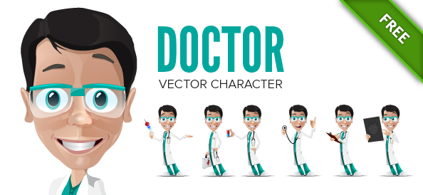 Doctor Vector Character in 6 Poses