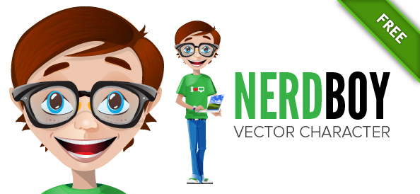 Nerd Vector Character in 3 Colors