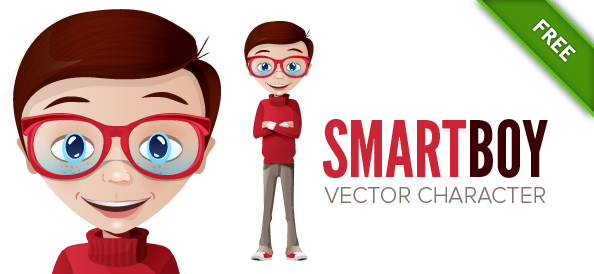 Smart Boy Vector Character