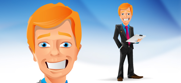 Smiling Businessman Vector Character