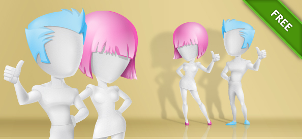 3D Vector Characters with Modern Hairstyles