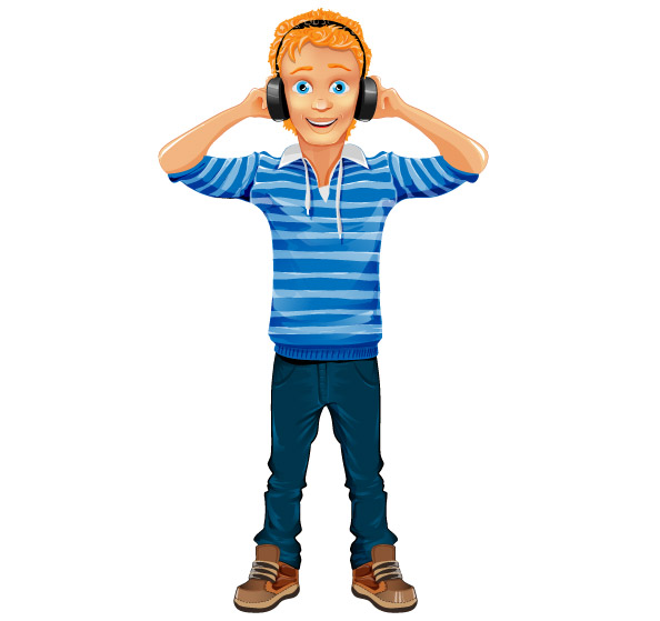 Boy Vector Character with Headphones Preview
