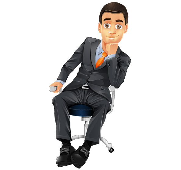 Businessman Vector Character sitting on a chair Preview