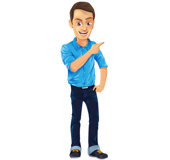 Male Vector Character with Jeans and Blue Shirt Preview