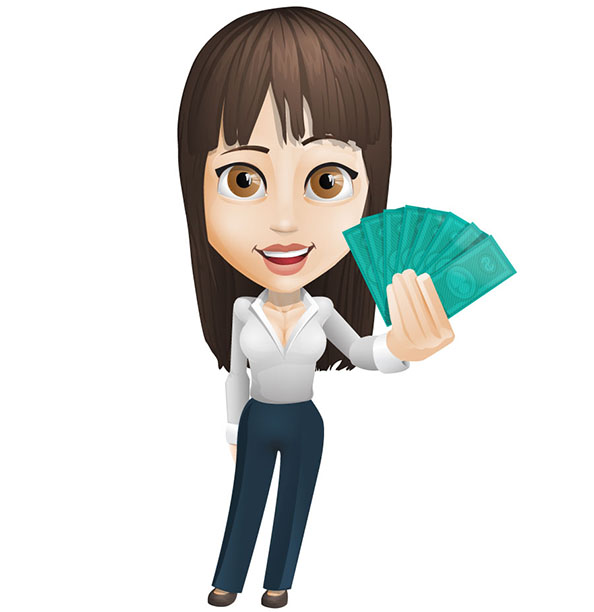Businesswoman Vector Holding Money Preview
