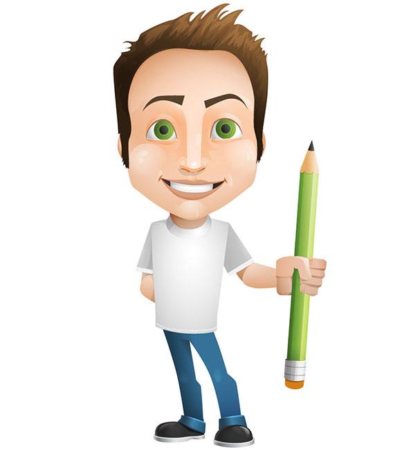 Vector Man Holding a Pencil
