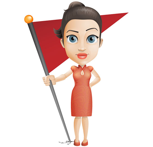 Vector Woman Holding Flag