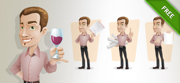 Elegant Businessman Vector Character Set