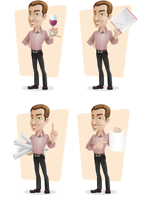 Elegant Businessman Vector Character Set