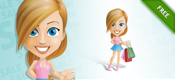Shopping Teenage Girl Vector Character