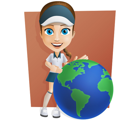 Female Courier Vector Character Holding a Globe Preview