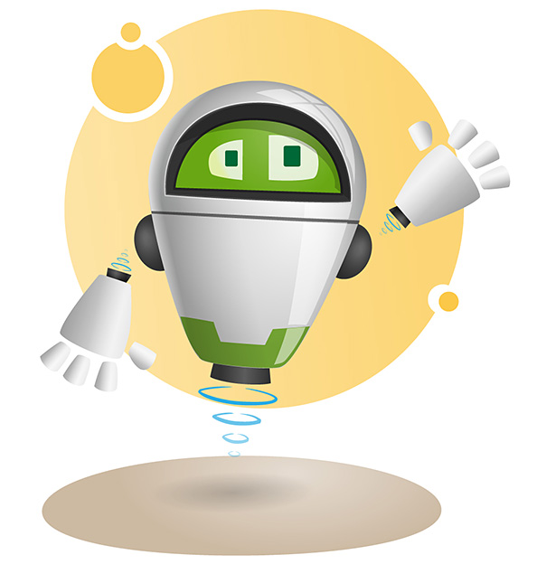 Flying Robot Vector Character Preview