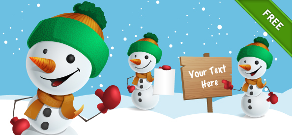 Free Snowman Vector Character Set