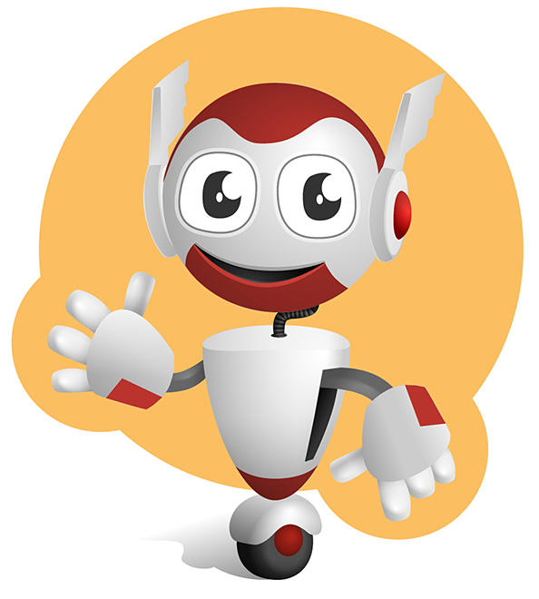 Robot Vector Character on a Wheel Preview