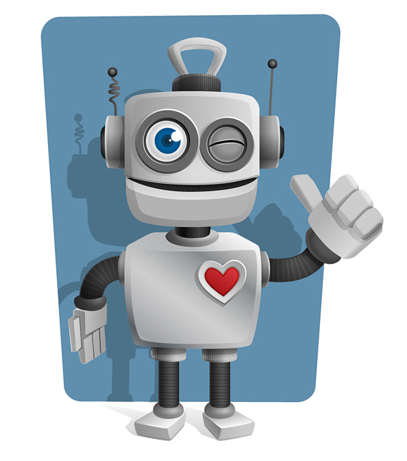 Robot Vector Character with Thumbs Up Preview
