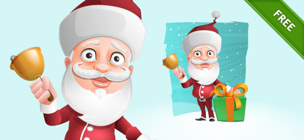 Free Santa Claus Vector Character Holding a Gift