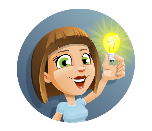 Girl Vector Character with Idea