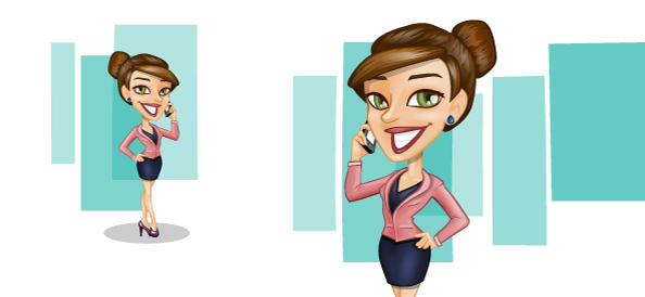 Vector Businesswoman with Phone