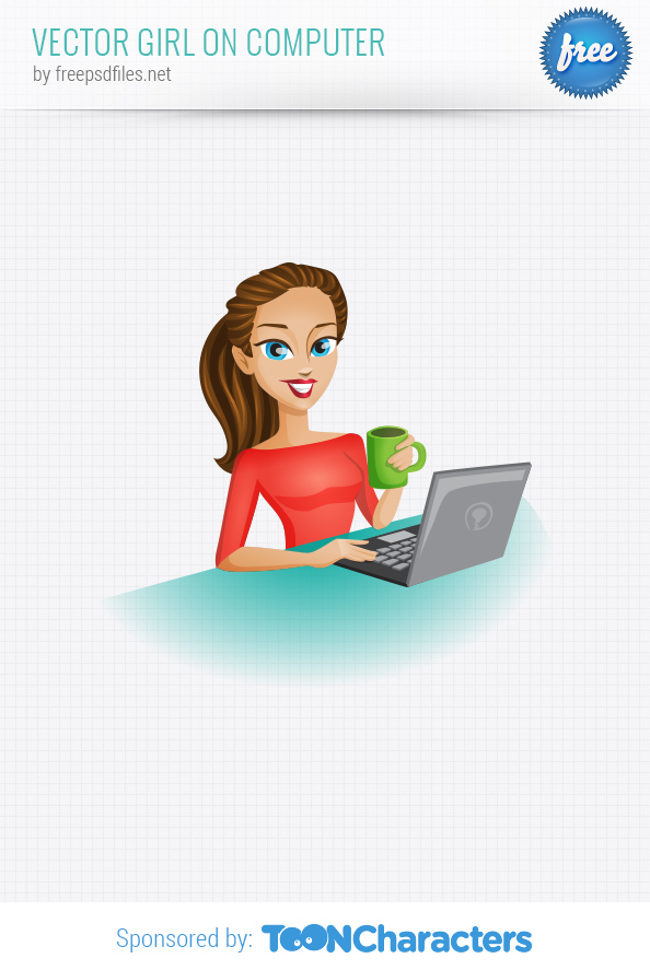 Vector Girl on Computer