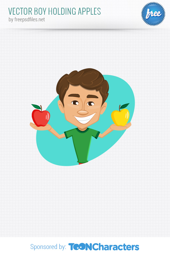 Vector boy holding apples