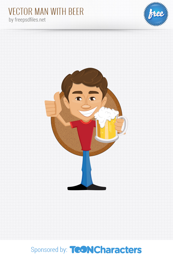 Vector Man with Beer