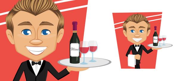 Vector Waiter Character