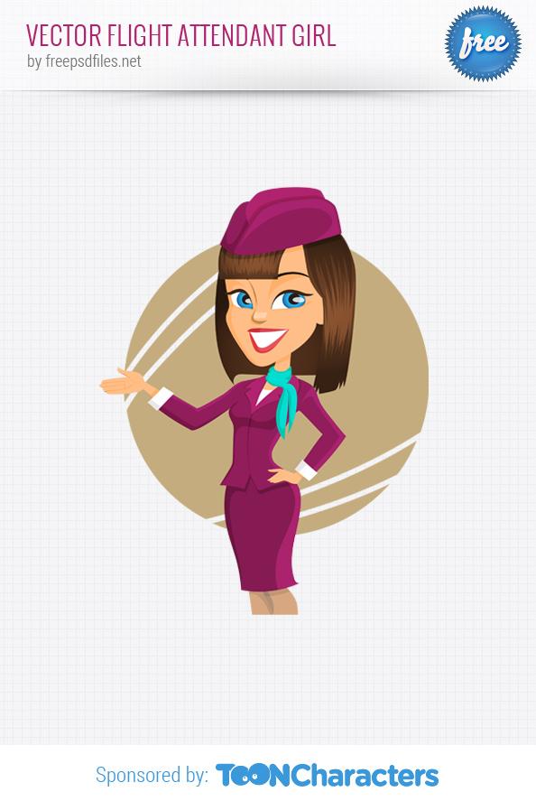 Vector flight attendant girl