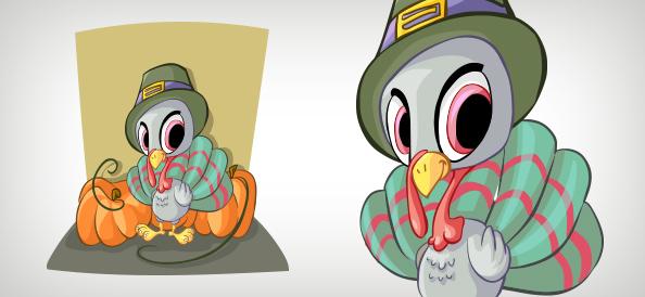 Baby Turkey Vector Character