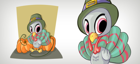 Baby Turkey Vector Character