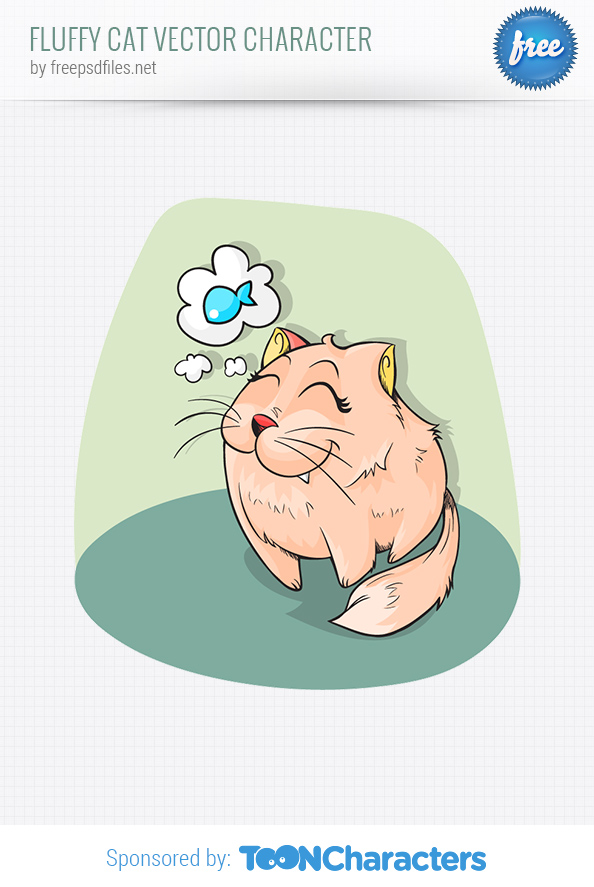 Fluffy Cat Vector Character