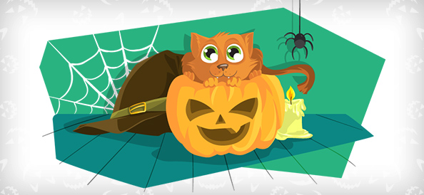 Vector Cat in Pumpkin Illustration