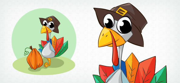 Vector Turkey Wearing Hat